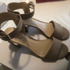 Taupe suede sandals size 71/2